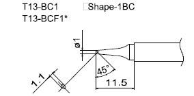 Сменная композитная головка hakko t13-bc1 (к hakko fm-2026).